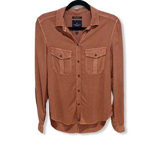 American Eagle Boyfriend Fit Utility Shirt Rust XS